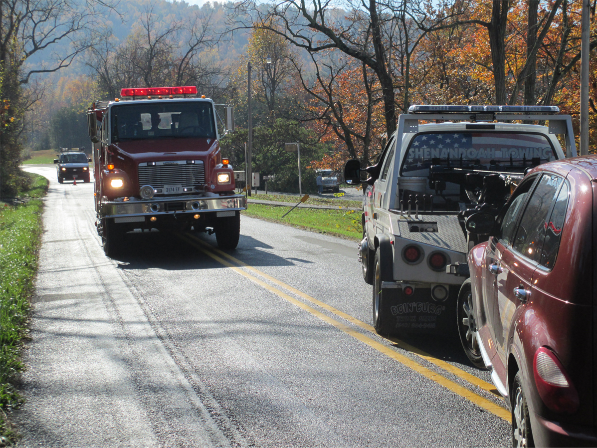 heavy duty towing after accident with firetruck